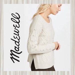 Madewell Cream Cable & Pom Pom Sweater